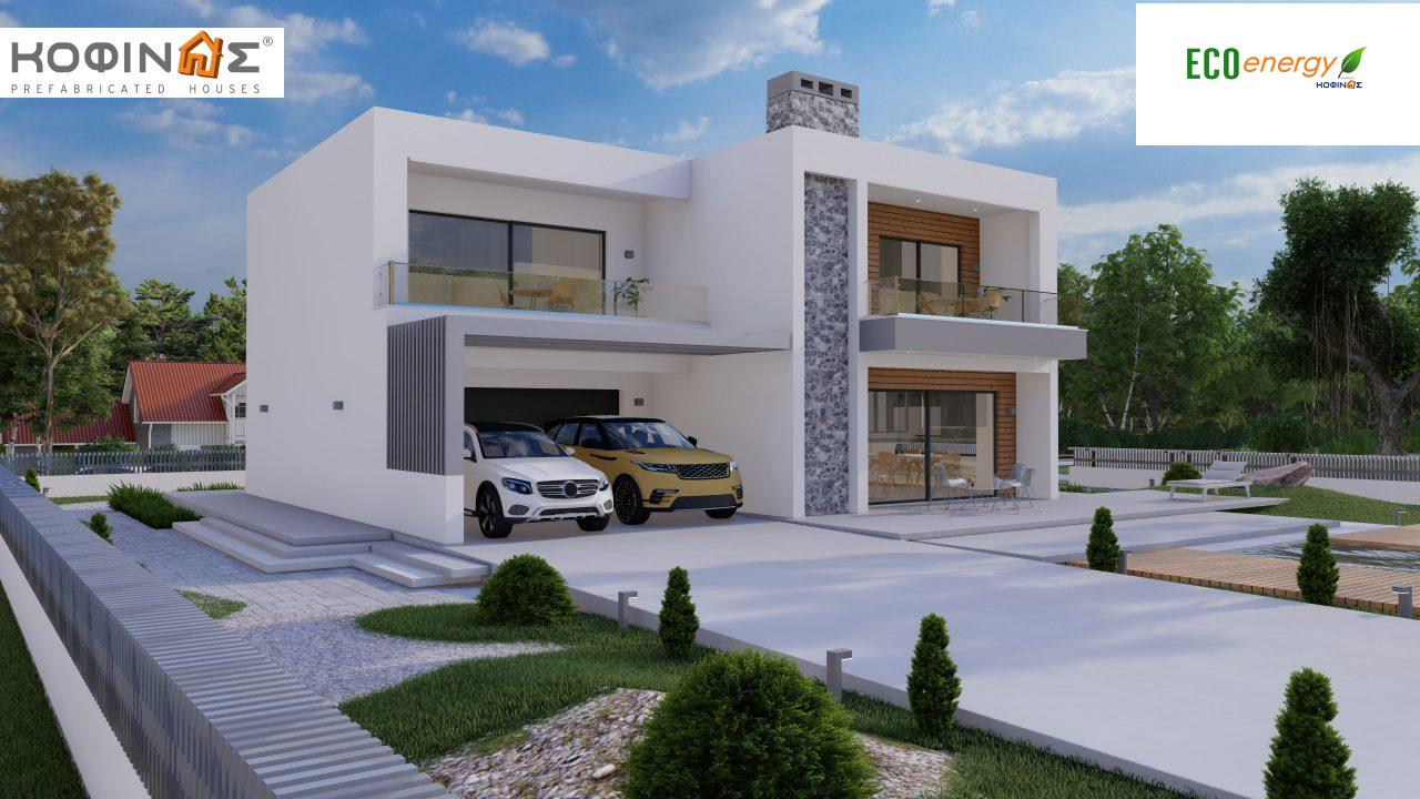 2-story house D 183B, total area 183.77 m²., +garage 41.98 m²(= 225,75 m²), covered areas 59.80 m², and balconies 28.09 m²3
