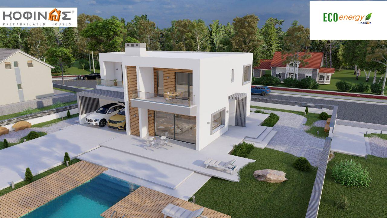 2-story house D 183B, total area 183.77 m²., +garage 41.98 m²(= 225,75 m²), covered areas 59.80 m², and balconies 28.09 m²5
