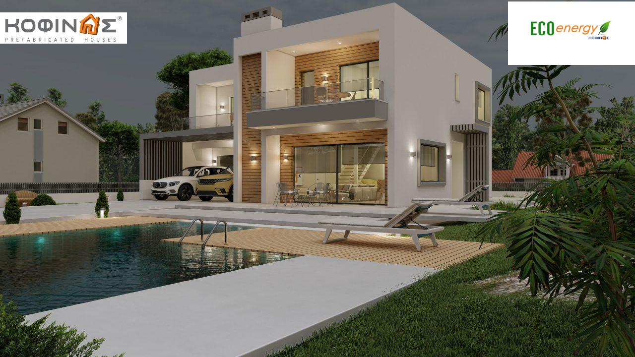 2-story house D 183B, total area 183.77 m²., +garage 41.98 m²(= 225,75 m²), covered areas 59.80 m², and balconies 28.09 m²8