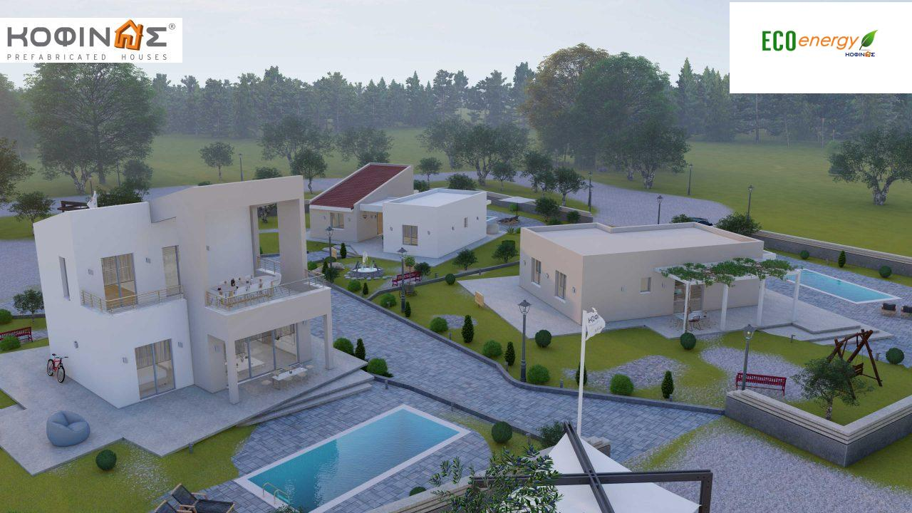 Complex of 2-story + 1 story houses E-243, total surface of (90.42+75.56+77.85)= 243,83 m², roofed areas 88.00 m² , balcony(house Α) 32.54 m²17