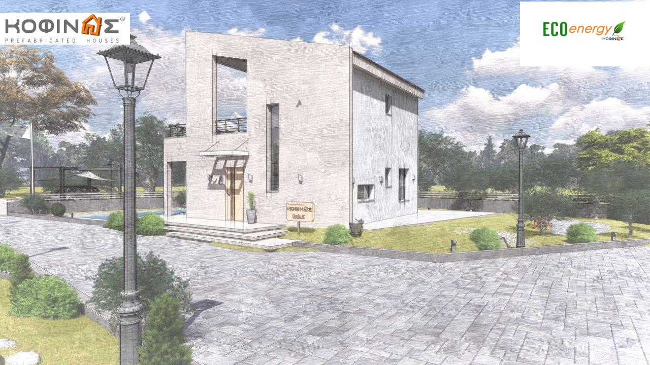 Complex of 2-story + 1 story houses E-243, total surface of (90.42+75.56+77.85)= 243,83 m², roofed areas 88.00 m² , balcony(house Α) 32.54 m²14