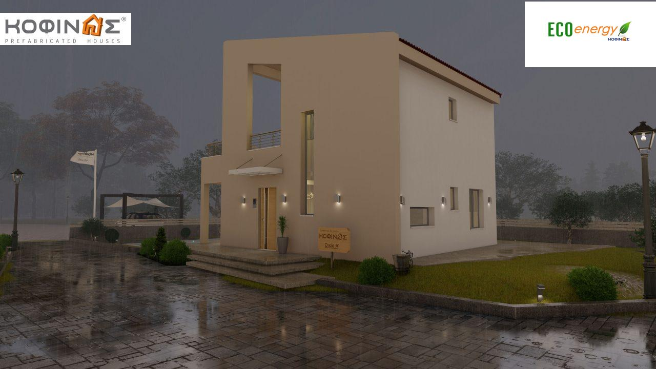 Complex of 2-story + 1 story houses E-243, total surface of (90.42+75.56+77.85)= 243,83 m², roofed areas 88.00 m² , balcony(house Α) 32.54 m²5