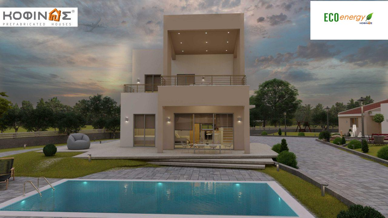 Complex of 2-story + 1 story houses E-243, total surface of (90.42+75.56+77.85)= 243,83 m², roofed areas 88.00 m² , balcony(house Α) 32.54 m²6