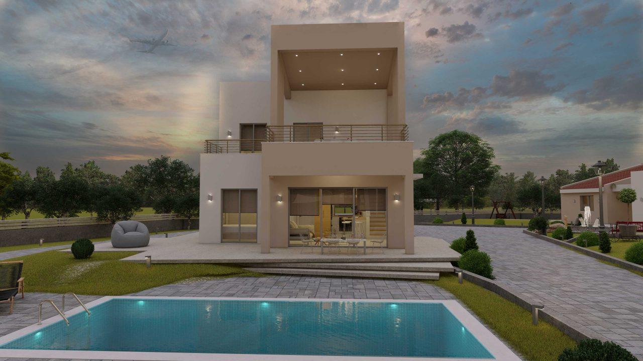 Συγκρότημα Κατοικιών E-243, συνολικής επιφάνειας (90.42+75.56+77.85)= 243,83 τ.μ., συνολική επιφάνεια στεγασμένων χώρων 88,00 τ.μ., μπαλκόνια(οικία Α) 32.54 τ.μ.6