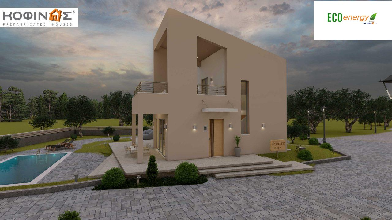 Complex of 2-story + 1 story houses E-243, total surface of (90.42+75.56+77.85)= 243,83 m², roofed areas 88.00 m² , balcony(house Α) 32.54 m²7