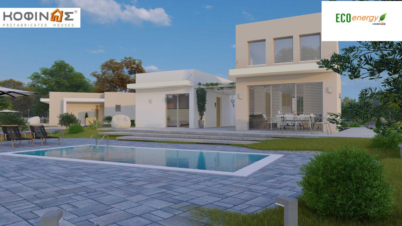 Complex of 2-story + 1 story houses E-243, total surface of (90.42+75.56+77.85)= 243,83 m², roofed areas 88.00 m² , balcony(house Α) 32.54 m²11