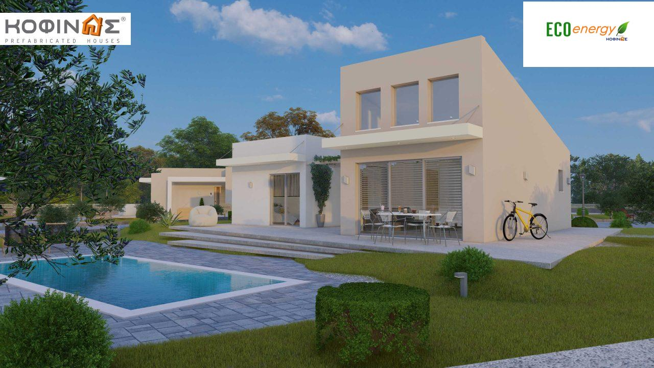 Complex of 2-story + 1 story houses E-243, total surface of (90.42+75.56+77.85)= 243,83 m², roofed areas 88.00 m² , balcony(house Α) 32.54 m²12