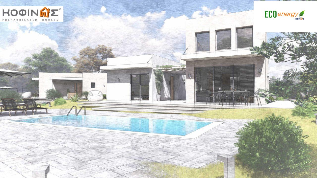 Complex of 2-story + 1 story houses E-243, total surface of (90.42+75.56+77.85)= 243,83 m², roofed areas 88.00 m² , balcony(house Α) 32.54 m²16