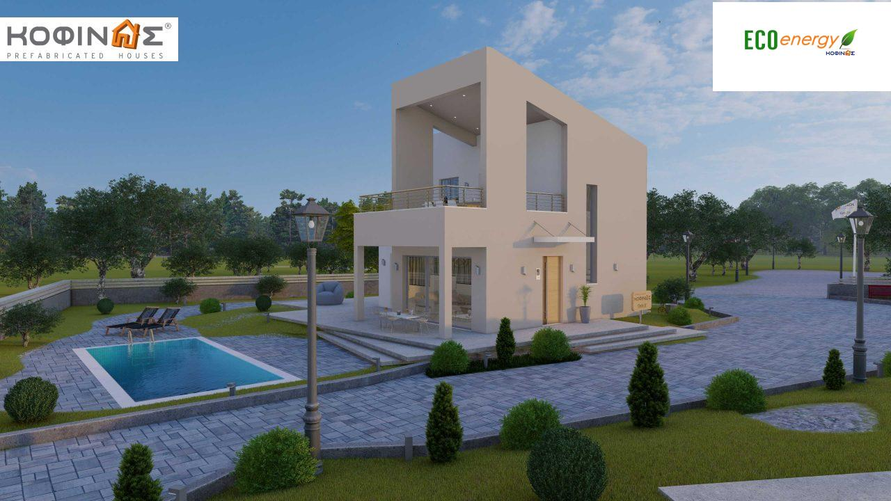 Complex of 2-story + 1 story houses E-243, total surface of (90.42+75.56+77.85)= 243,83 m², roofed areas 88.00 m² , balcony(house Α) 32.54 m²1