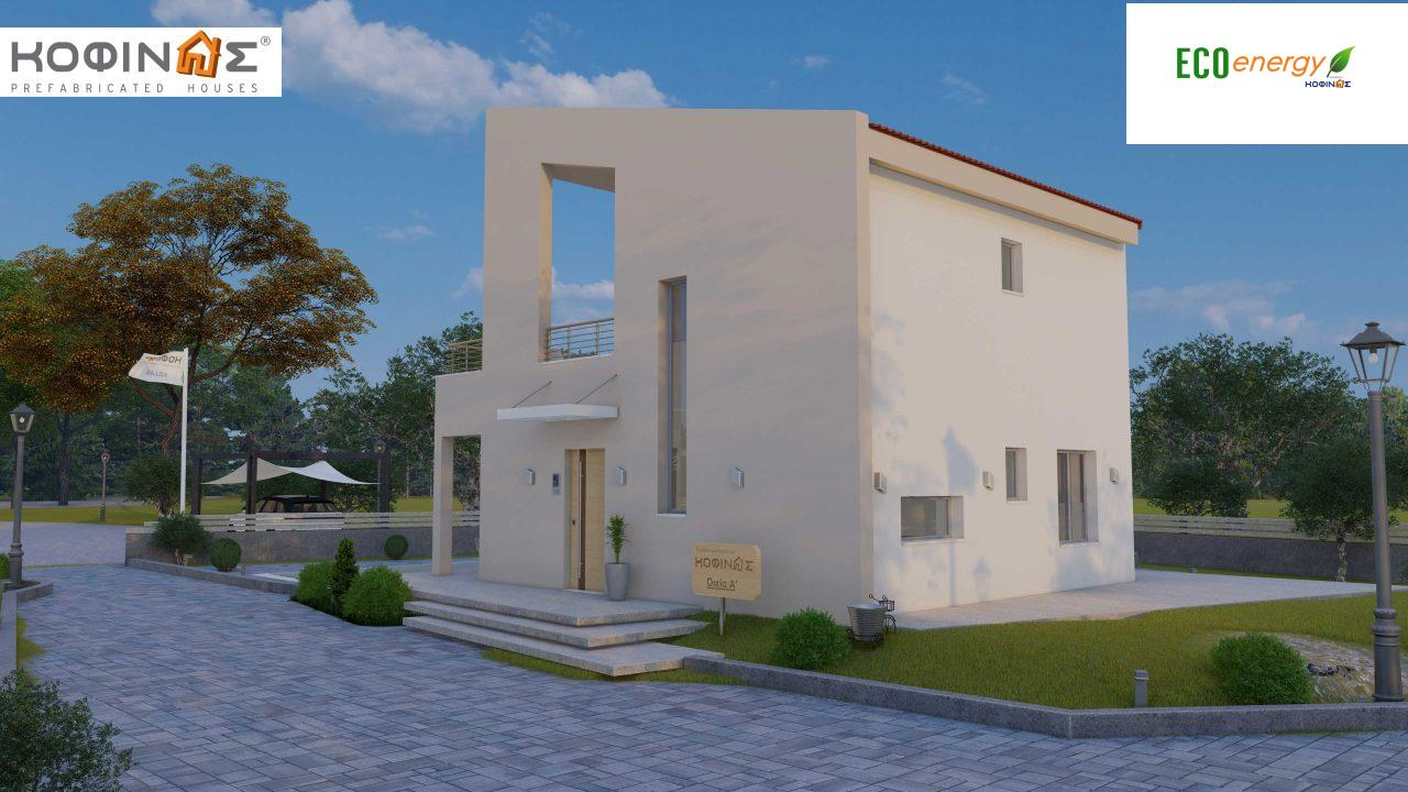 Complex of 2-story + 1 story houses E-243, total surface of (90.42+75.56+77.85)= 243,83 m², roofed areas 88.00 m² , balcony(house Α) 32.54 m²2