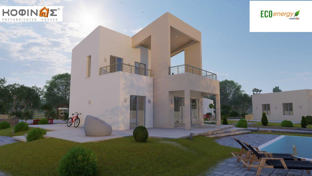 Complex of 2-story + 1 story houses E-243, total surface of (90.42+75.56+77.85)= 243,83 m², roofed areas 88.00 m² , balcony(house Α) 32.54 m²3