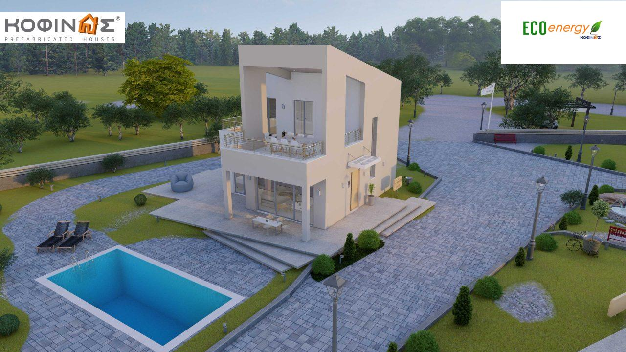 Complex of 2-story + 1 story houses E-243, total surface of (90.42+75.56+77.85)= 243,83 m², roofed areas 88.00 m² , balcony(house Α) 32.54 m²4