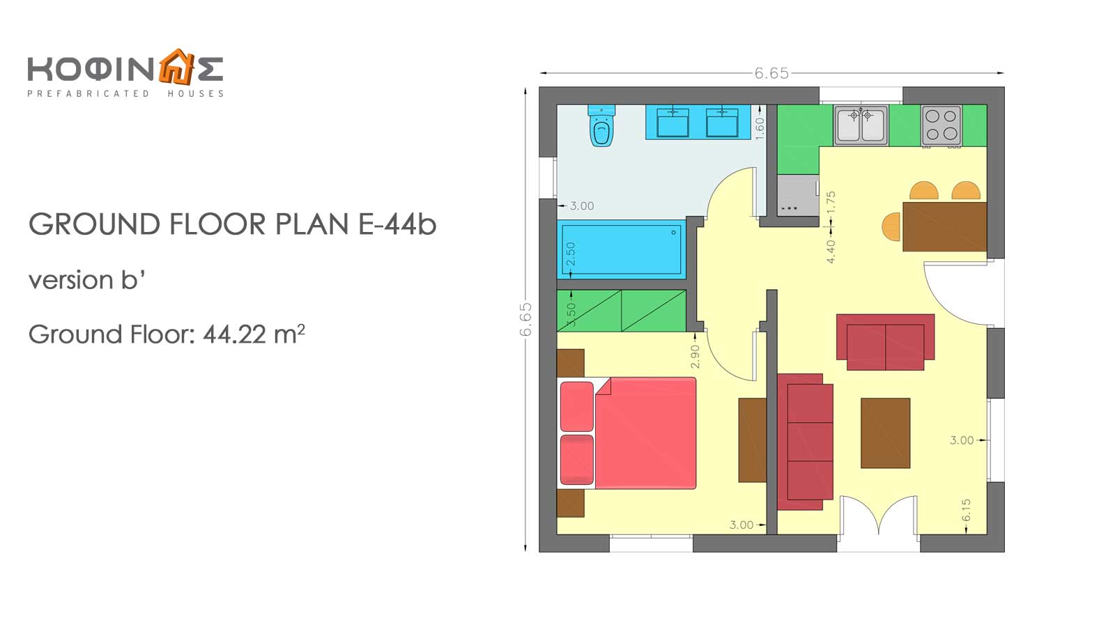 Complex of 1-story houses E-44 / E-66,  total surface of (3 x 44,22) + (3 x 66,42) = 331,92 m²