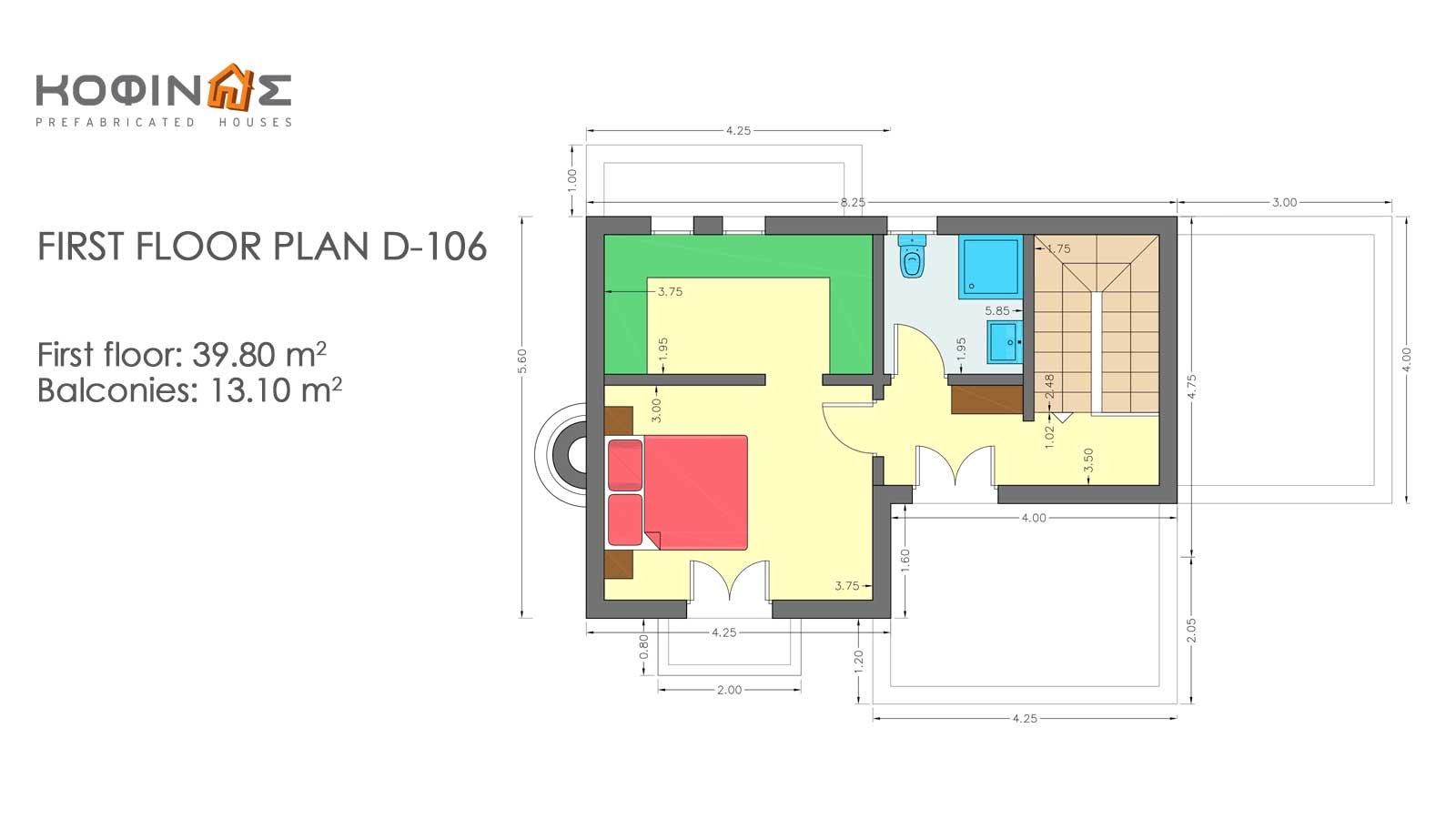 2-story house D-106, total surface of 106,95 m²