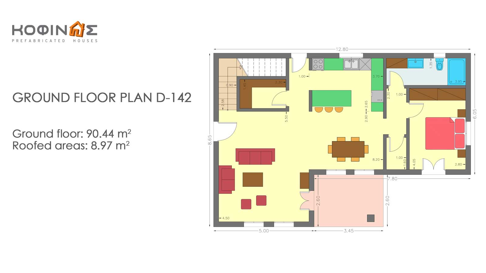 2-story house D-142, total surface of 142,47 m²