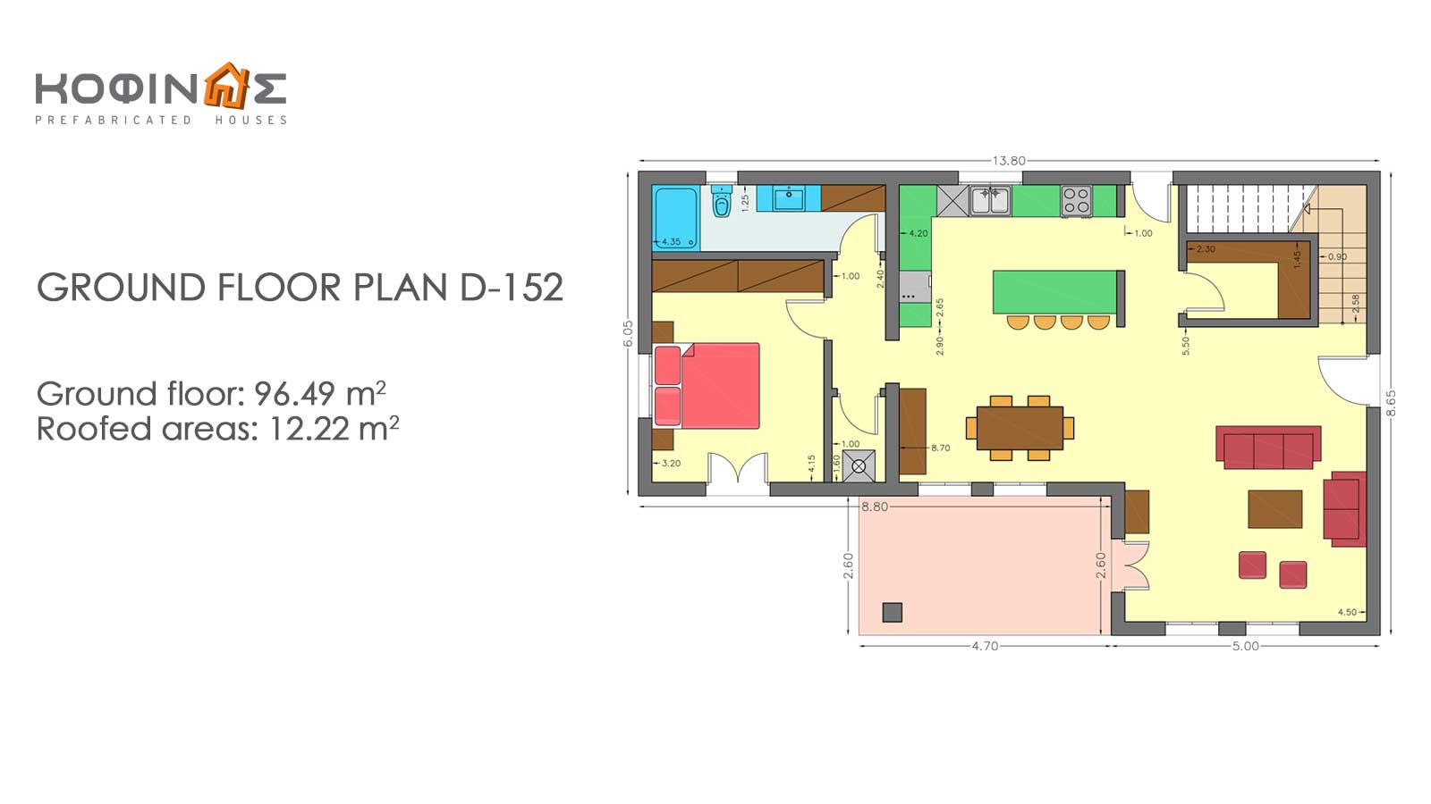 2-story house D-152, total surface of 152,15 m²