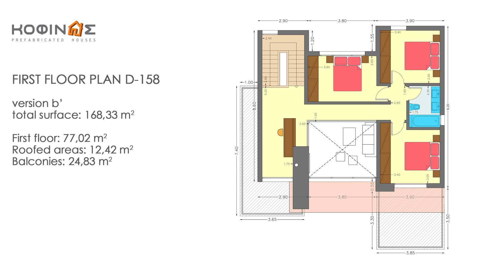2-story house D-158, total surface of 158,51 m²