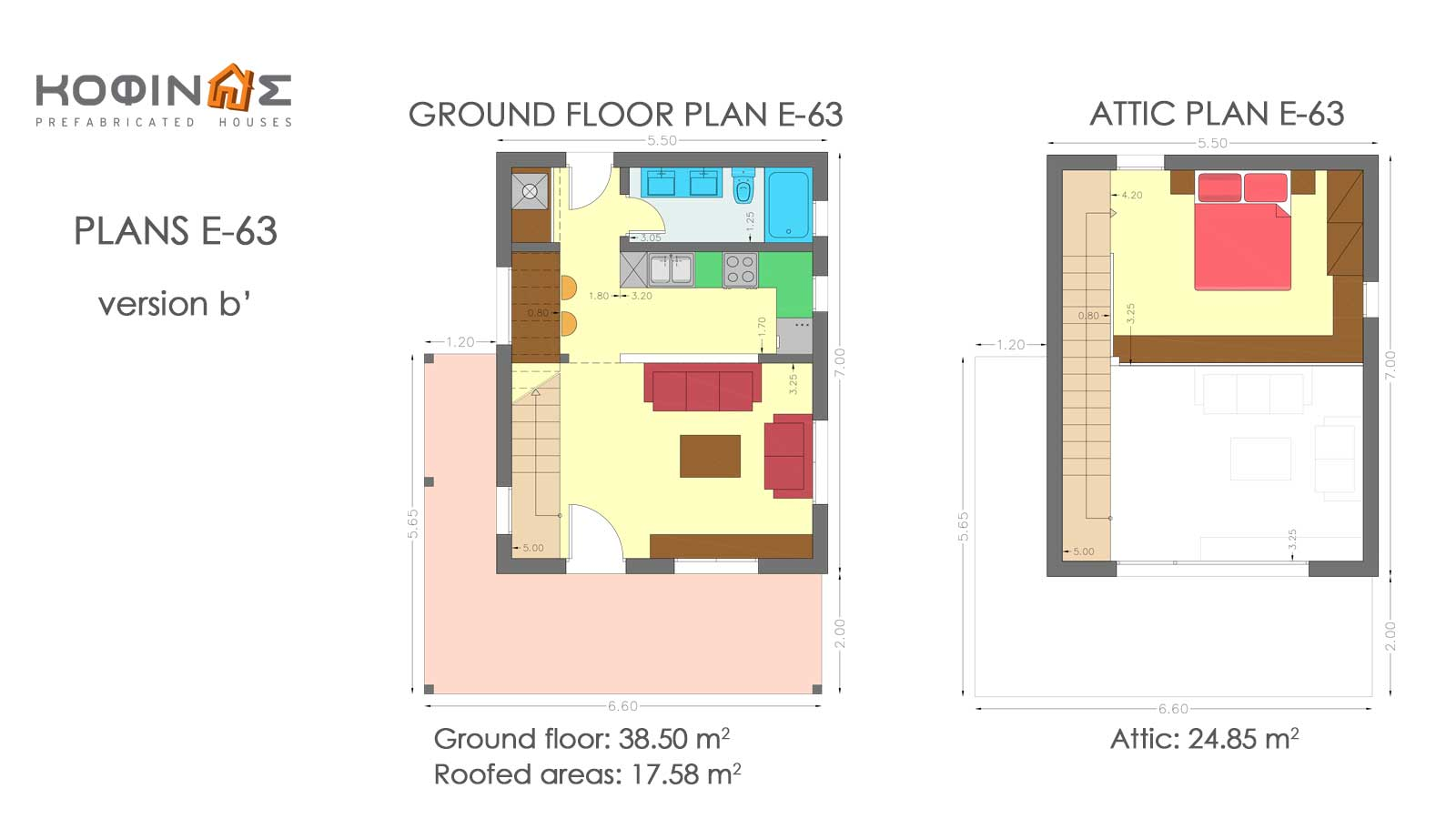Complex of 1-story houses with attics E-63, total surface of 3 x 63,35 = 190,05 m²