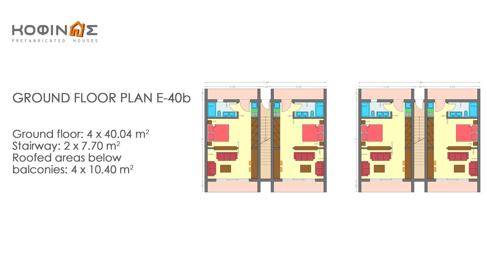Complex of 1-story houses E-40b, total surface of houses 8×40,04 & staircases 4×7,70 = 351,12 m²