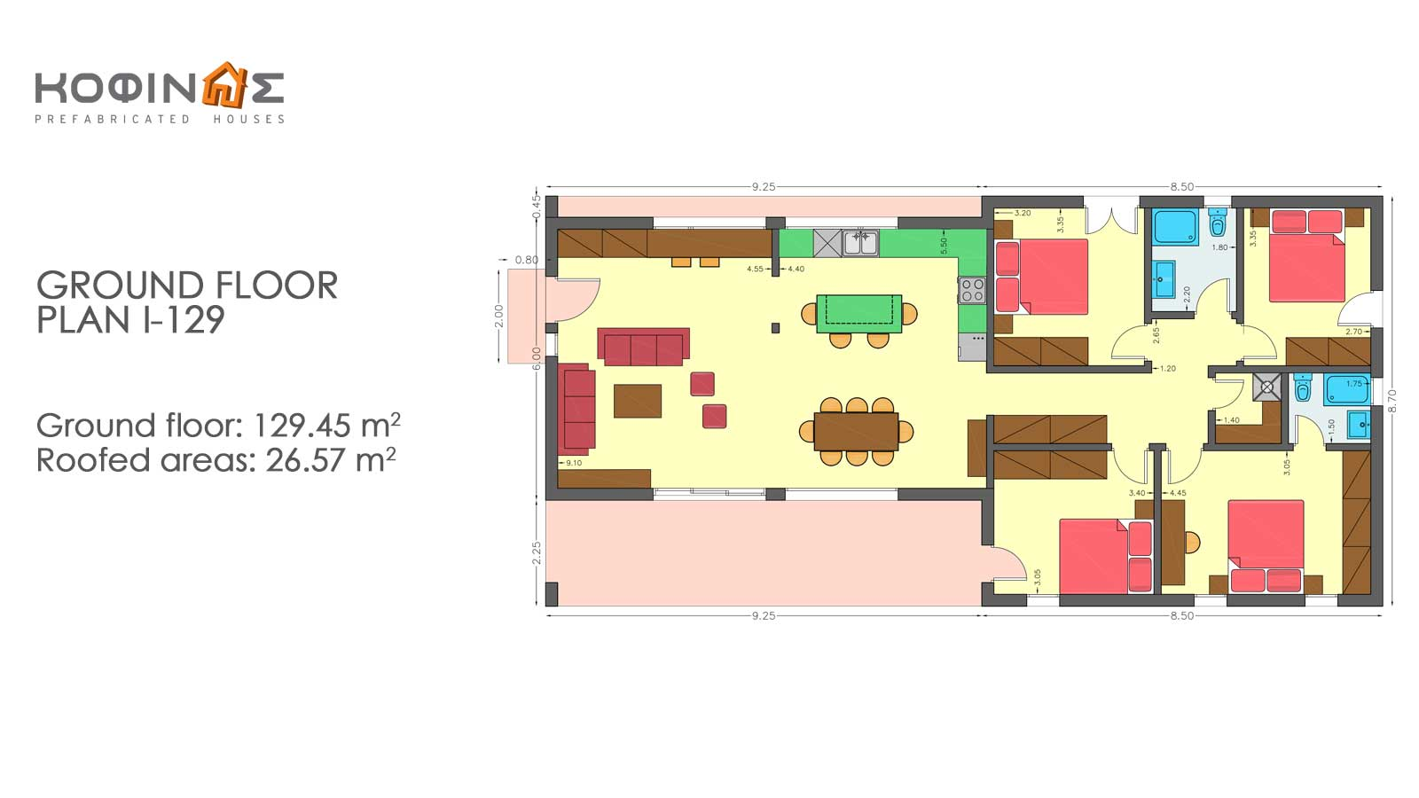 1-story house I-129, total surface of 129,45 m²
