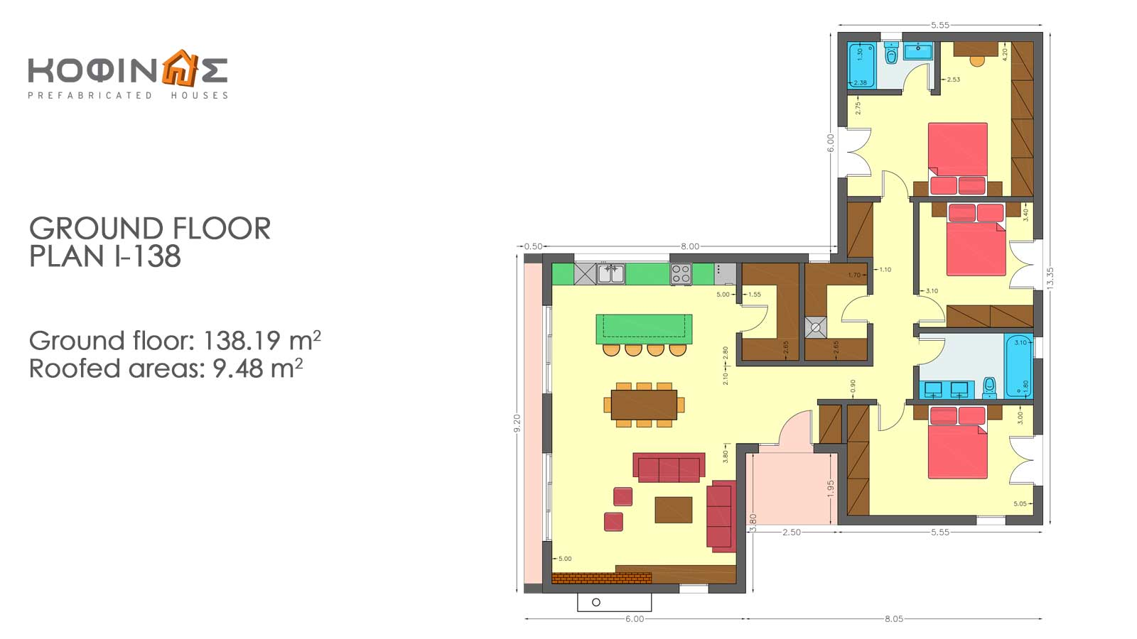 1-story house I-138, total surface of 138,19 m²