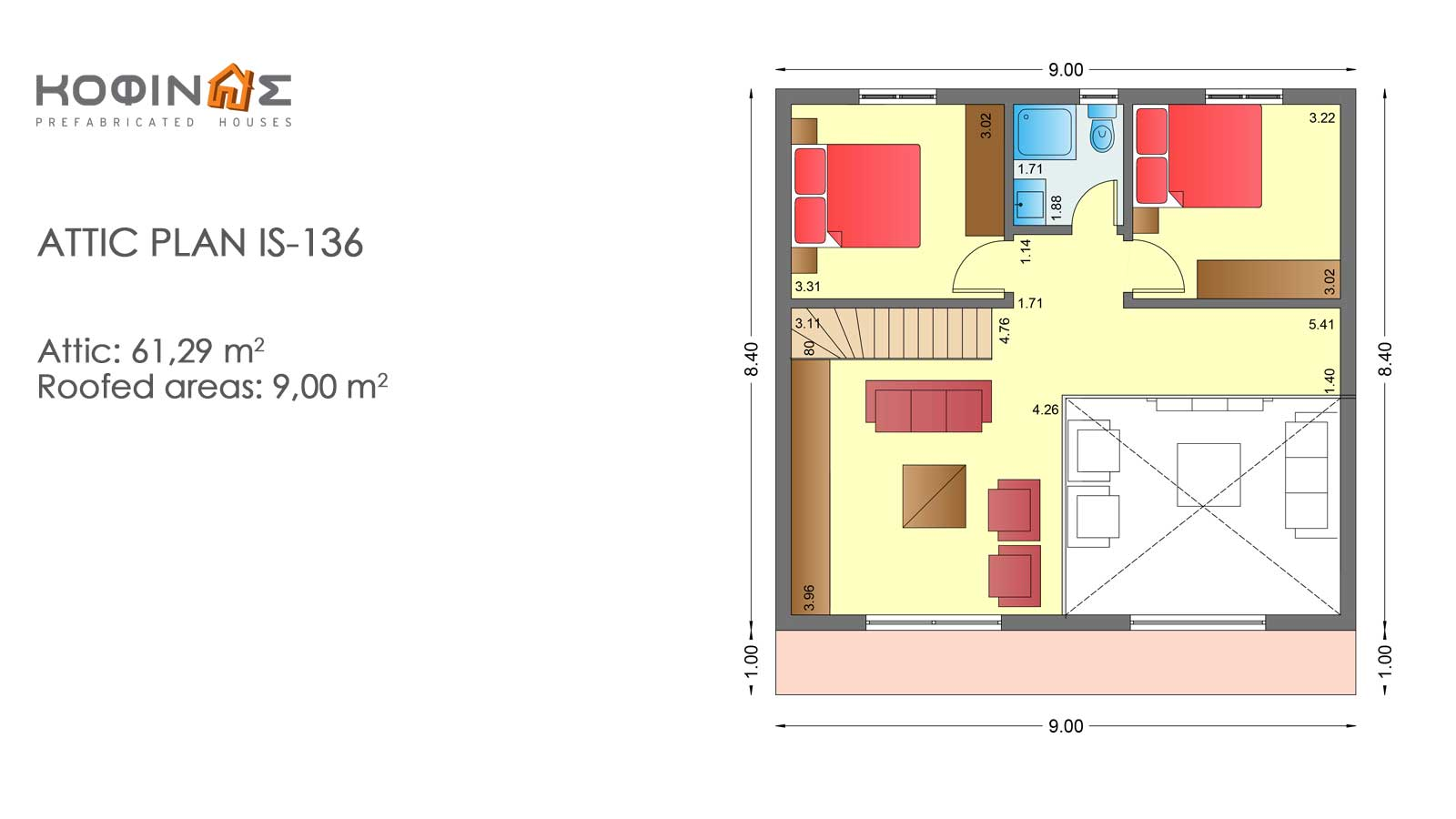 1-story house with attic IS-136, total surface of 136,89 m²