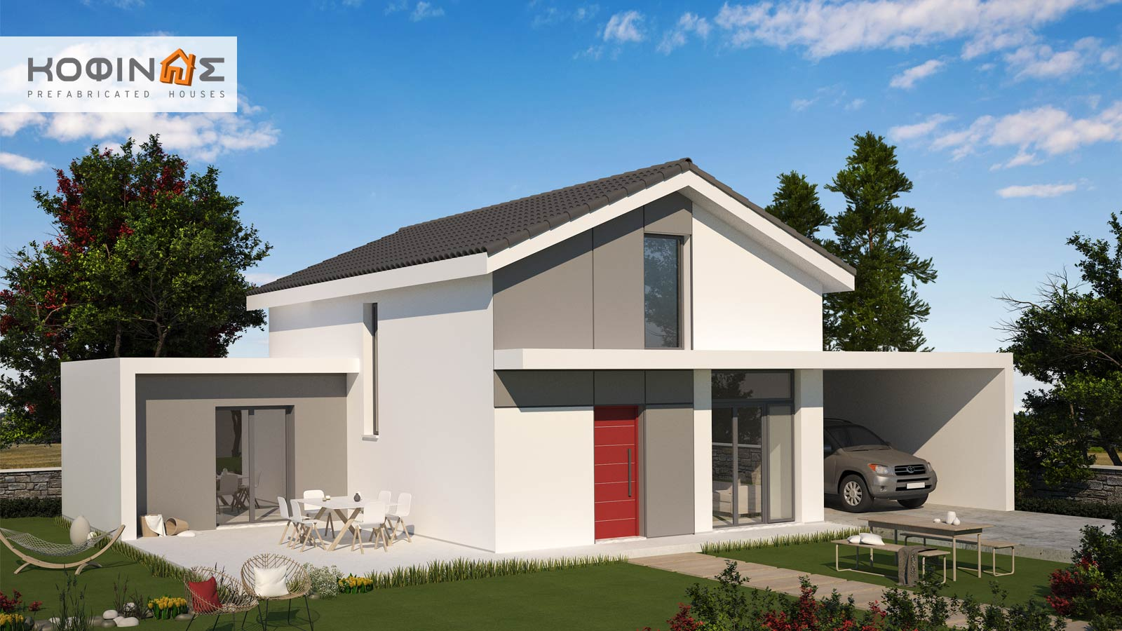 1-story house with attic KIS2-130, total surface of 130,27 m²