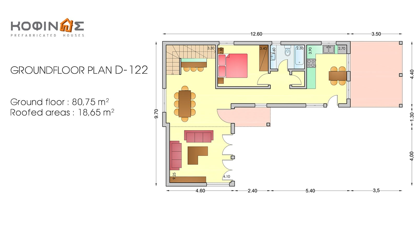 2-story house D-122, total surface of 122,6 m²