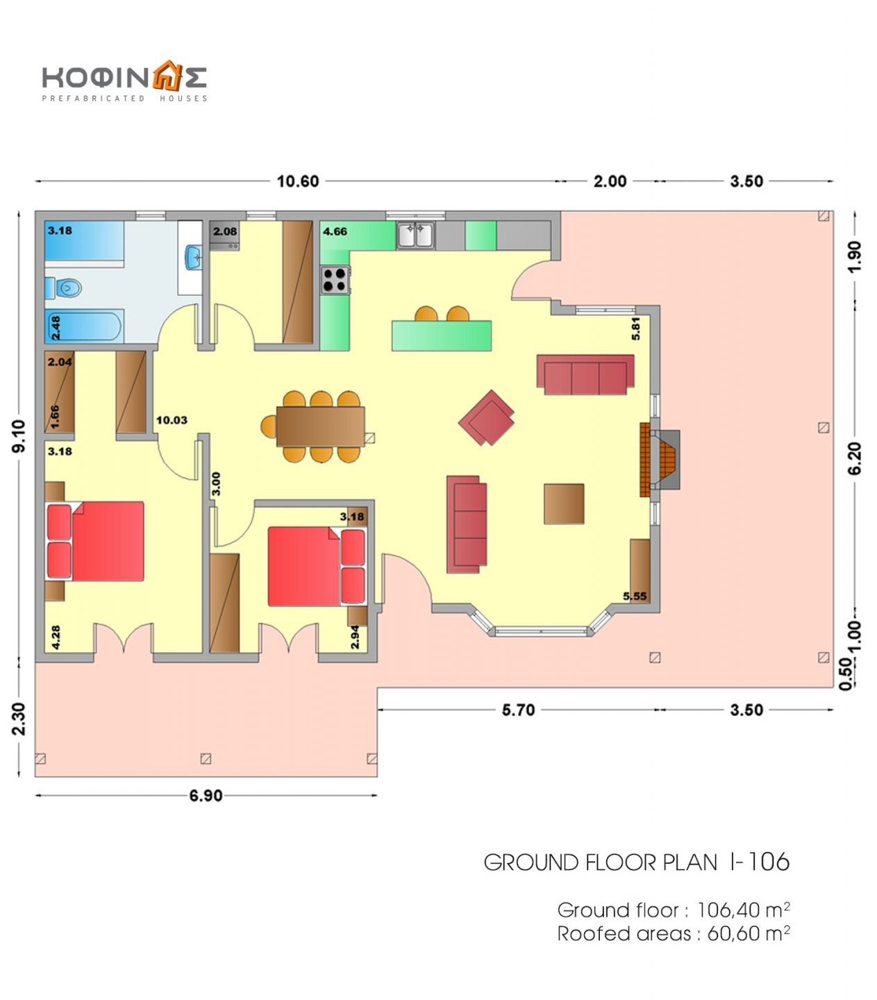 1-story house I-106, habitable space of 106,40 m²
