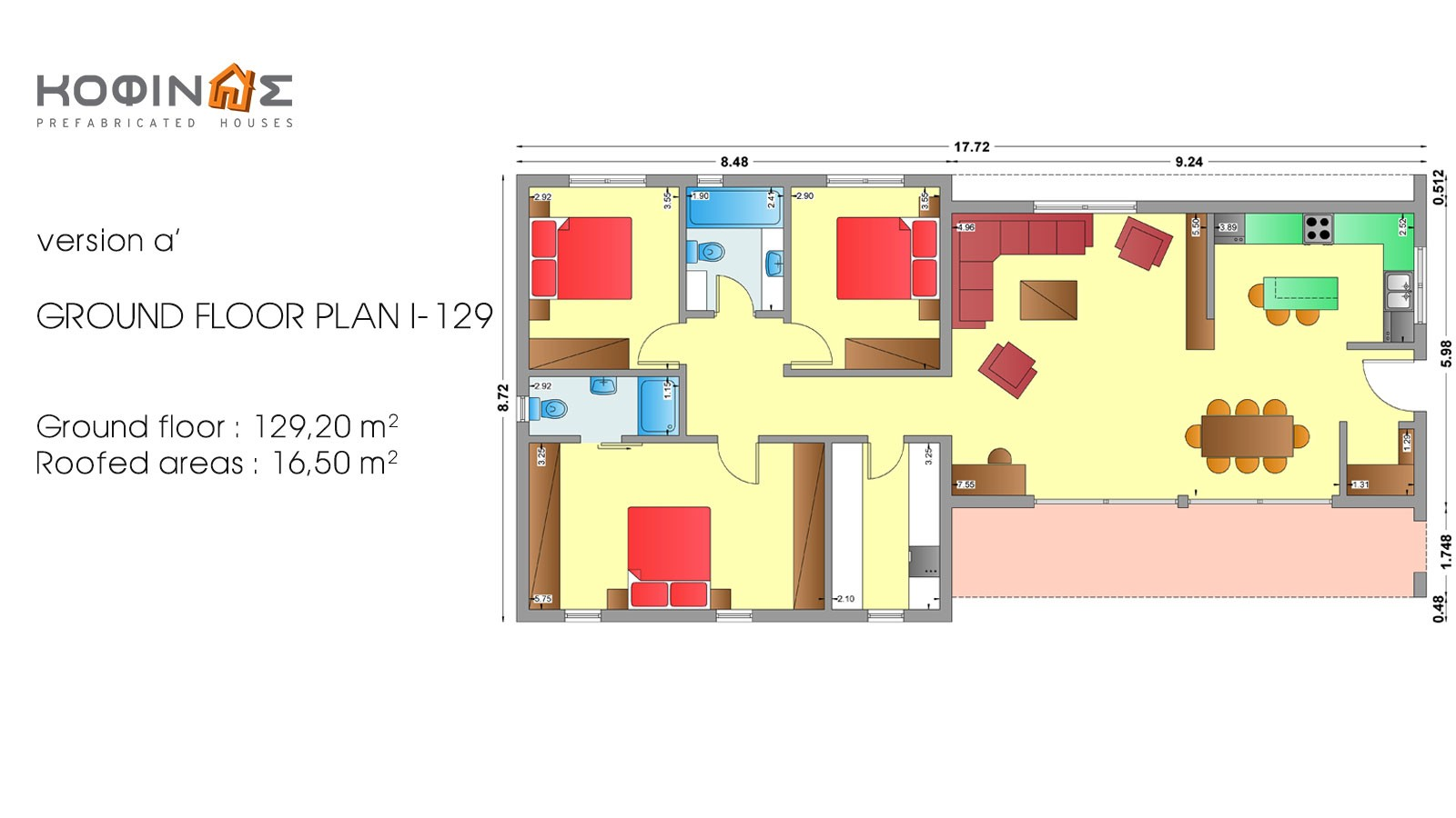 1-story house I-129, total surface of 129,20 m²