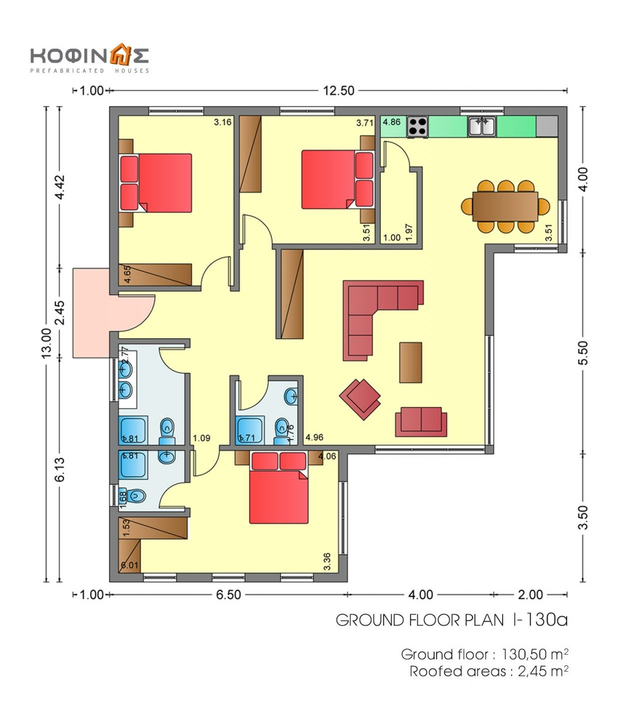 1-story house I-130a, total surface of 130,50 m²