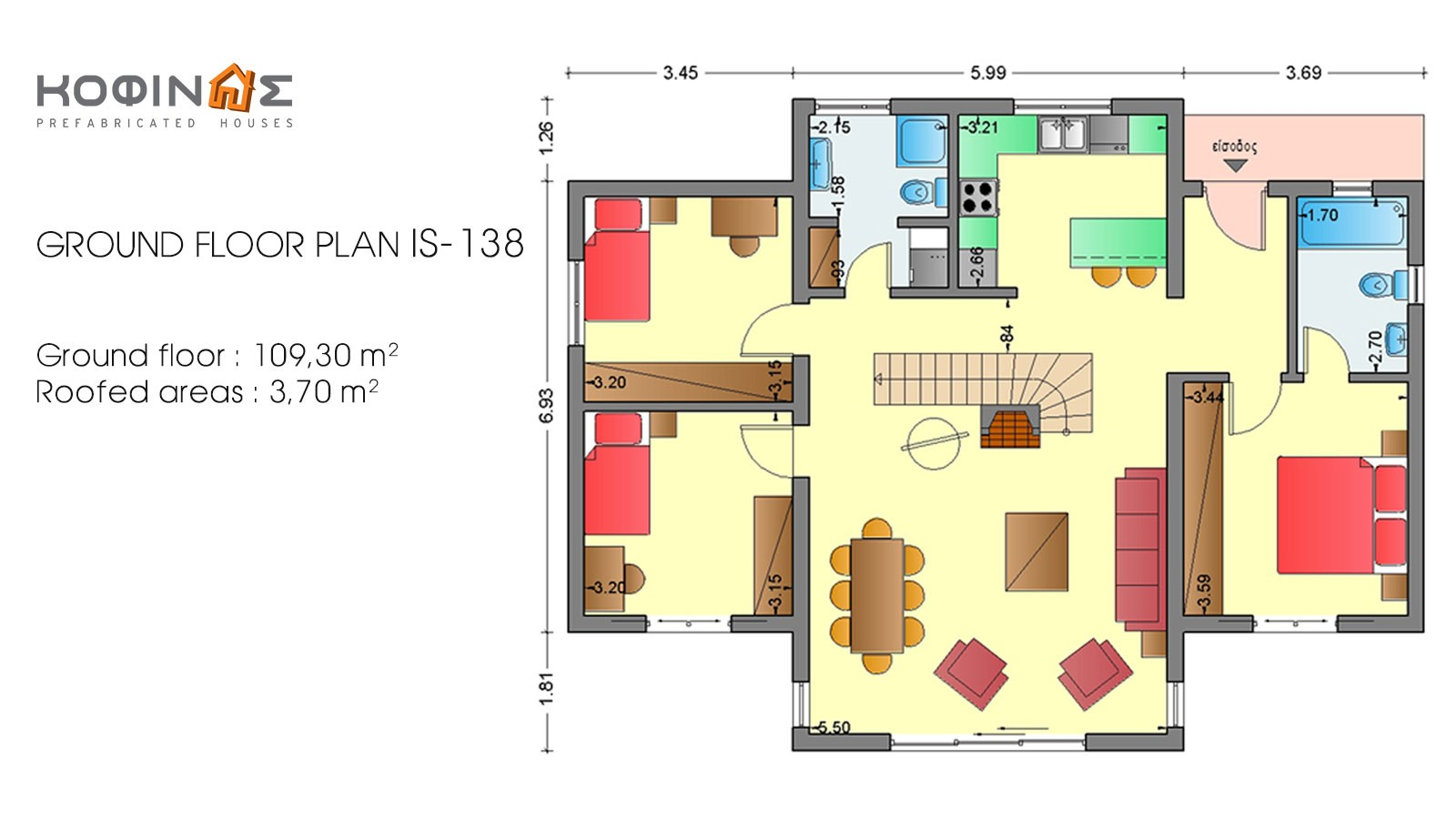 1-story house with attic IS-138, total surface of 138,30 m²