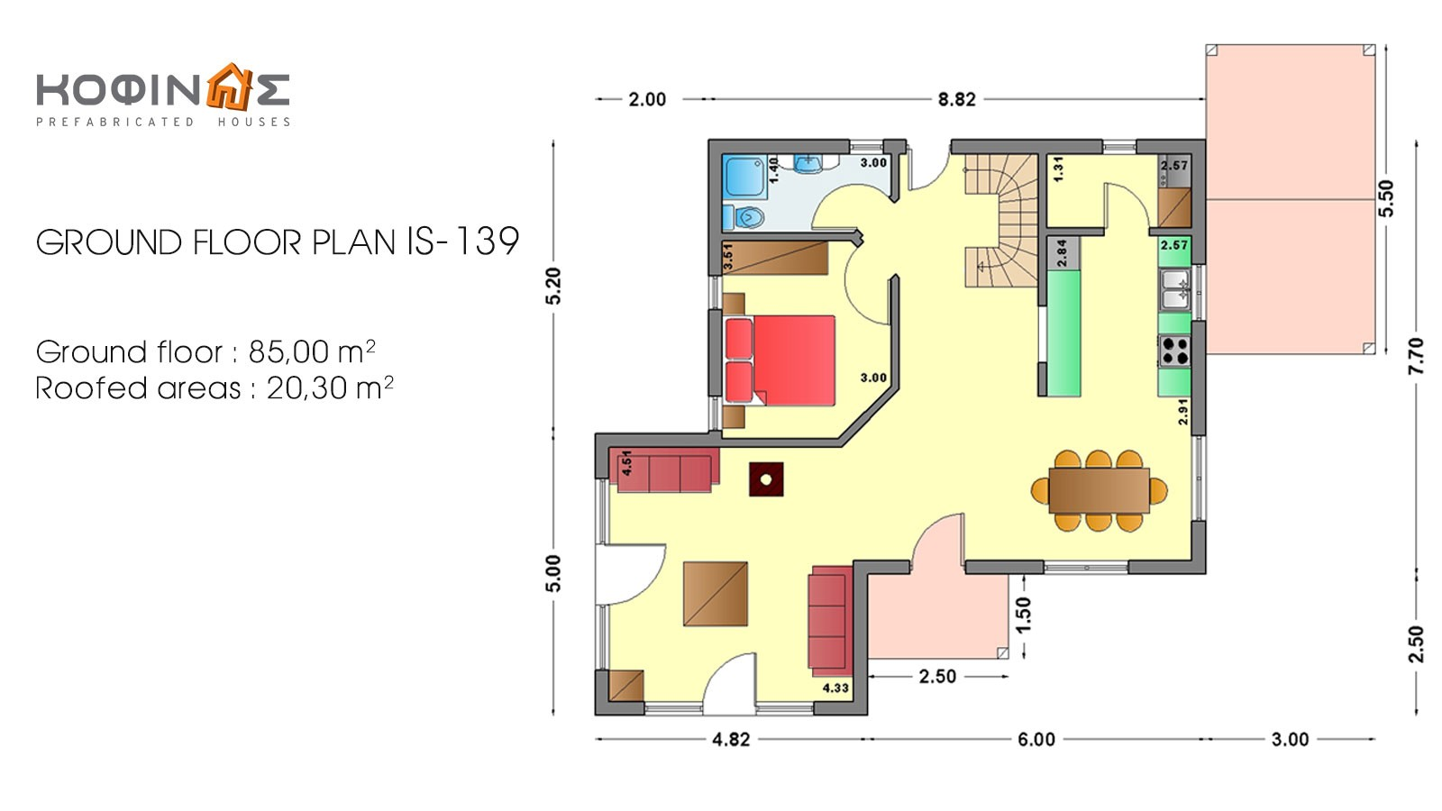 1-story house with attic IS-139, total surface of 139,70 m²