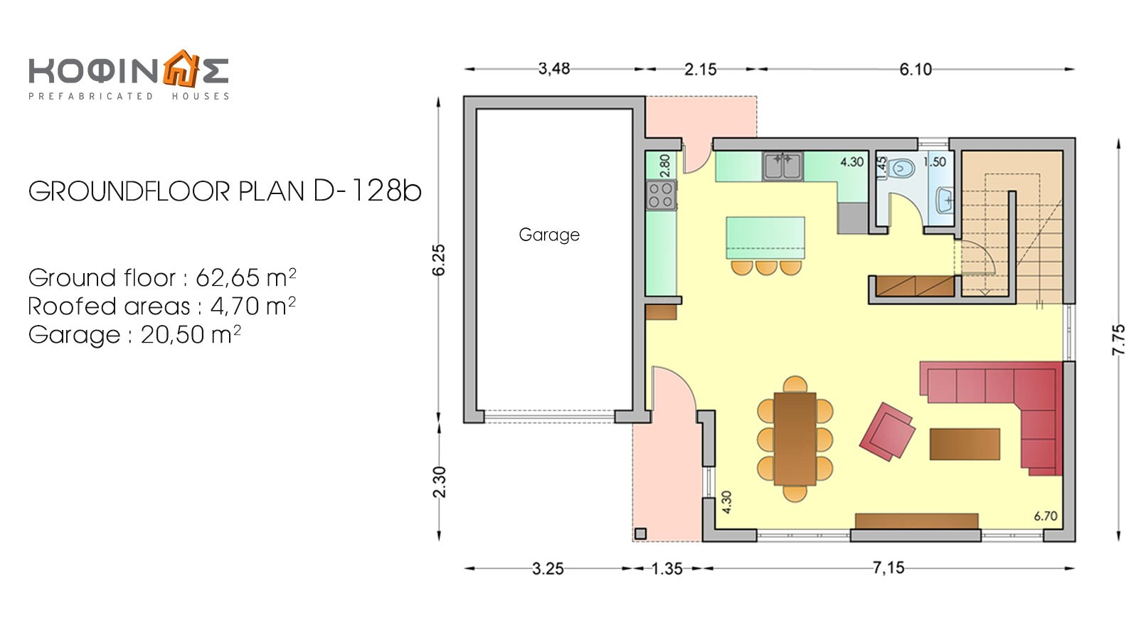 2-story house D-128b, total surface of 128,35 m²