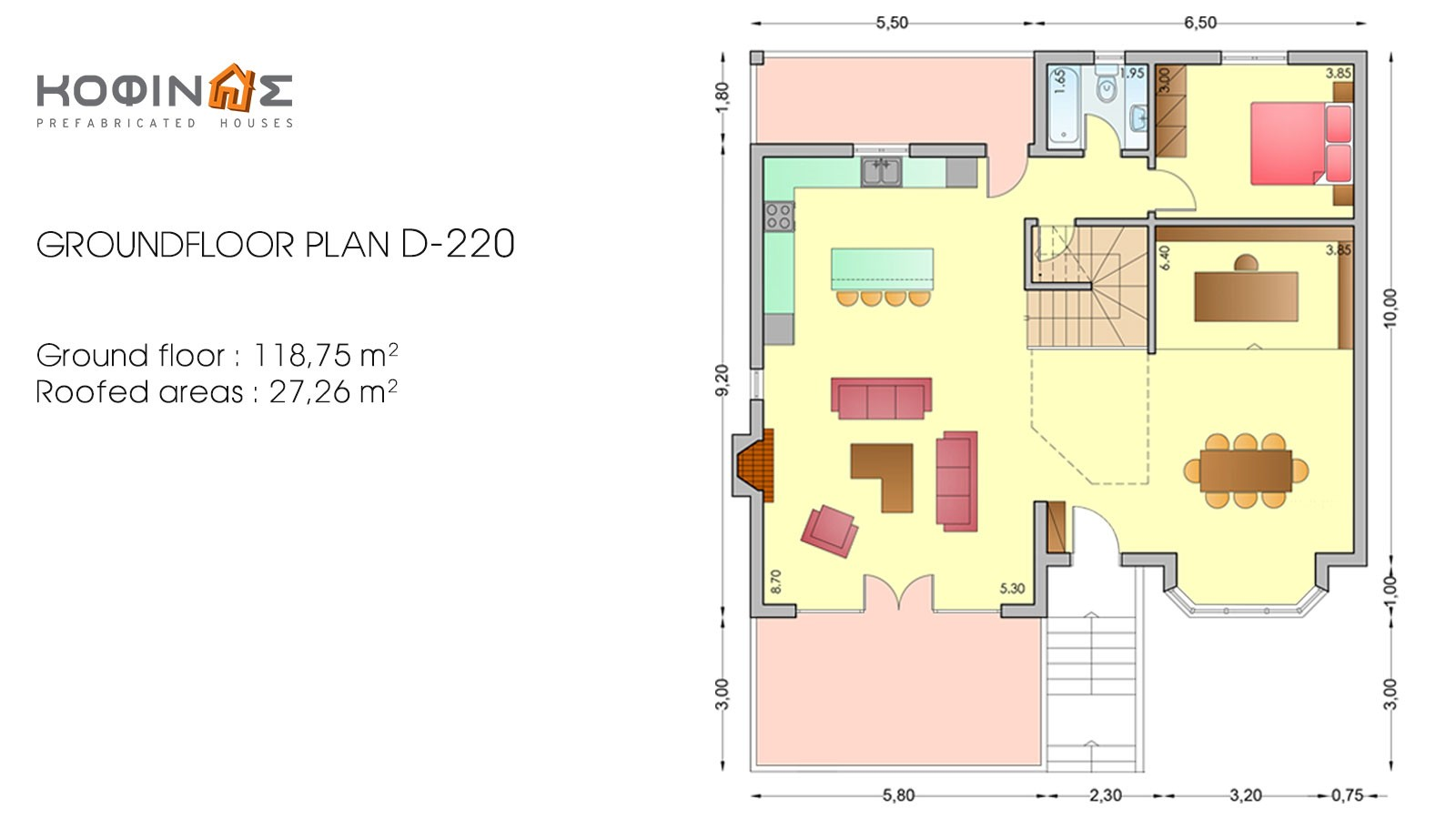 2-story house D-220, total surface of 220,70 m²