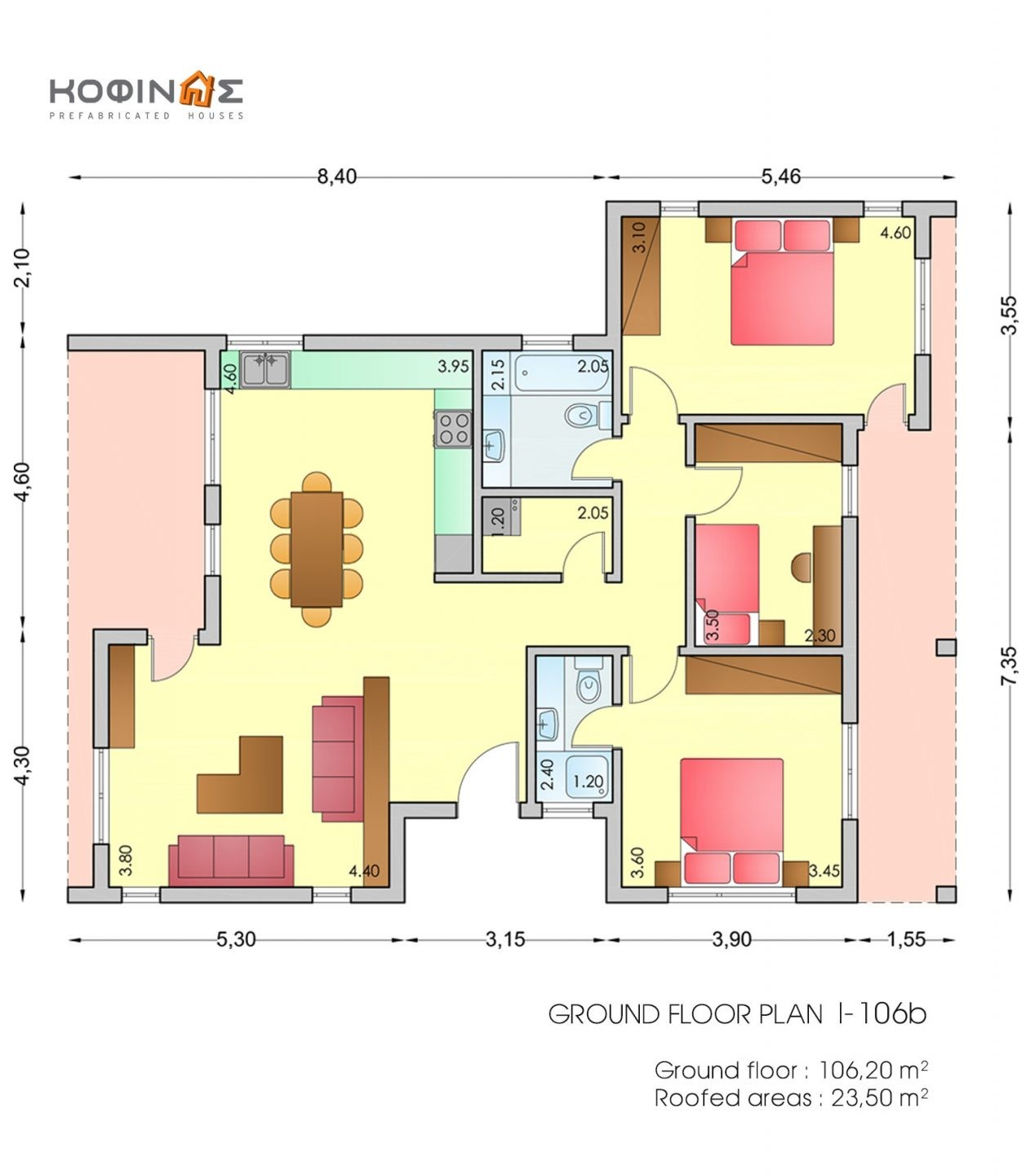 1-story house I-106b, total surface of 106,20 m²