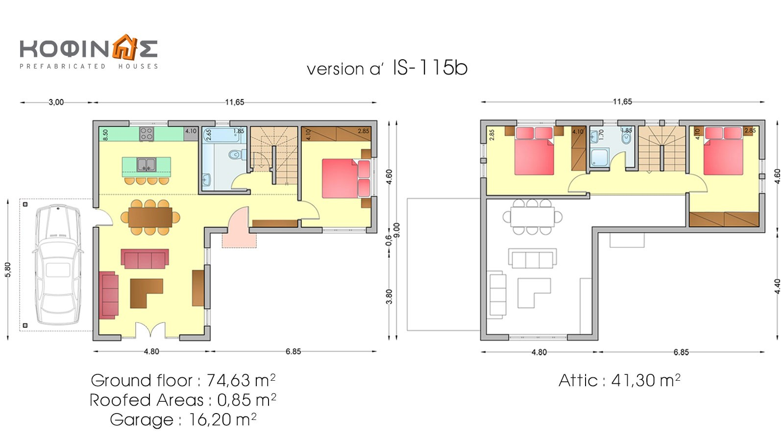 1-story house with attic IS-115b, total surface of 115,90 m²