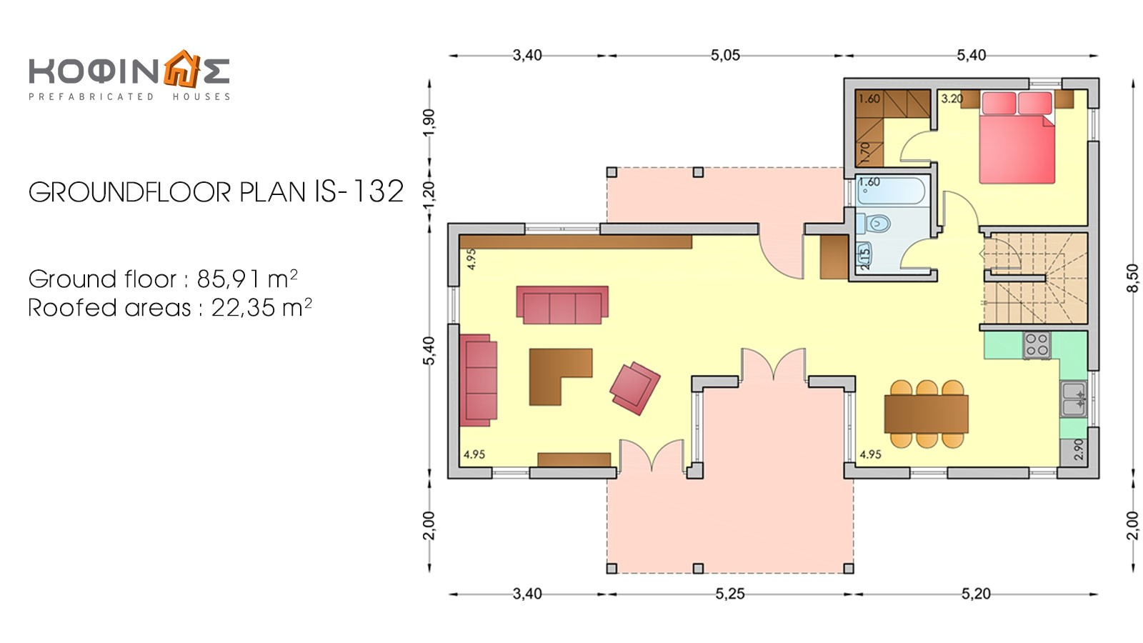 1-story house with attic IS-132, total surface of 132,00 m²
