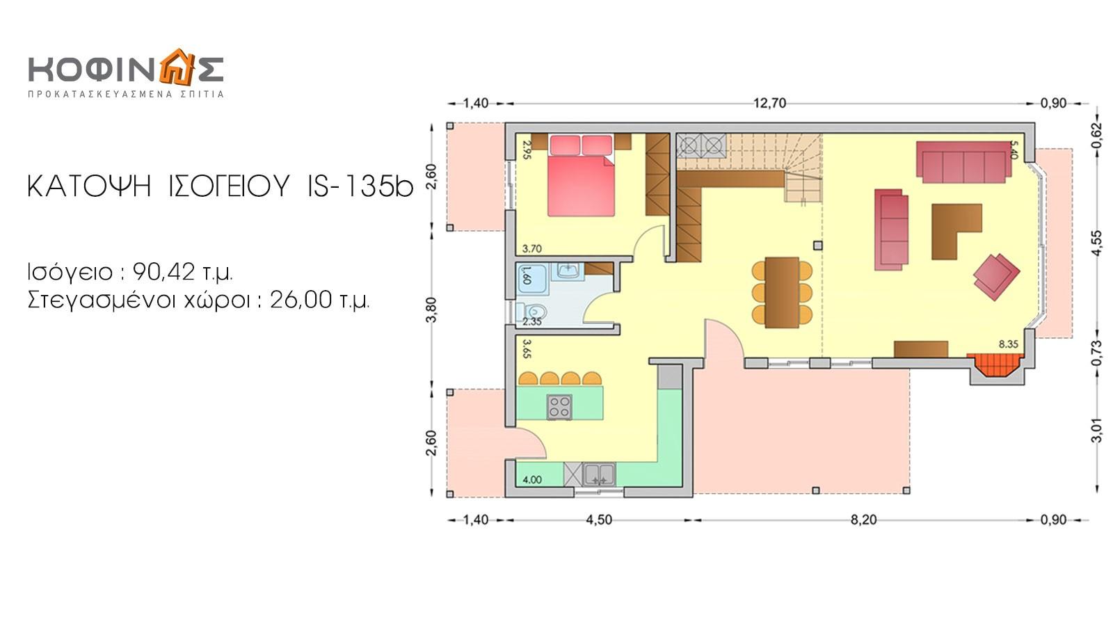 Ισόγεια Κατοικία με Σοφίτα IS-135b, συνολικής επιφάνειας 135,25 τ.μ.