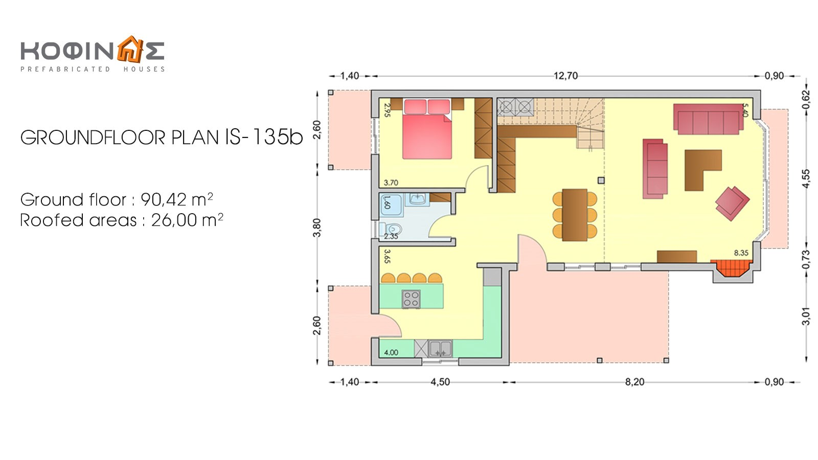 1-story house with attic IS-135b, total surface of 135,25 m²