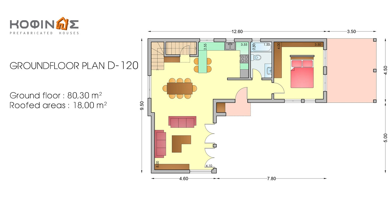 2-story house D-120, total surface of 120,20 m²