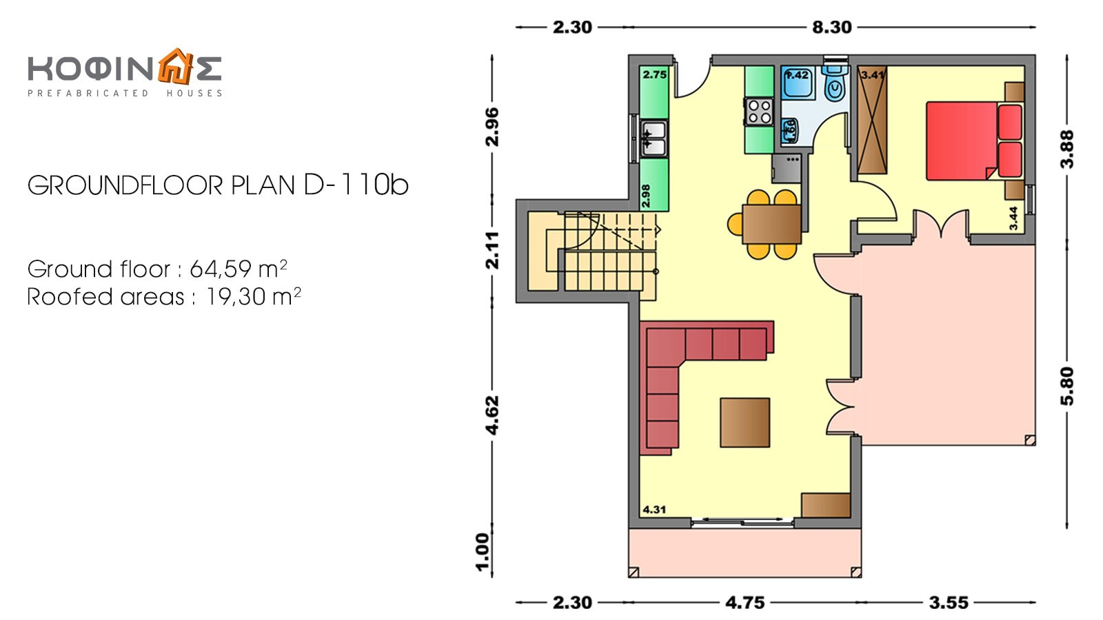 2-story house D-110b, habitable space of 110,72 m²