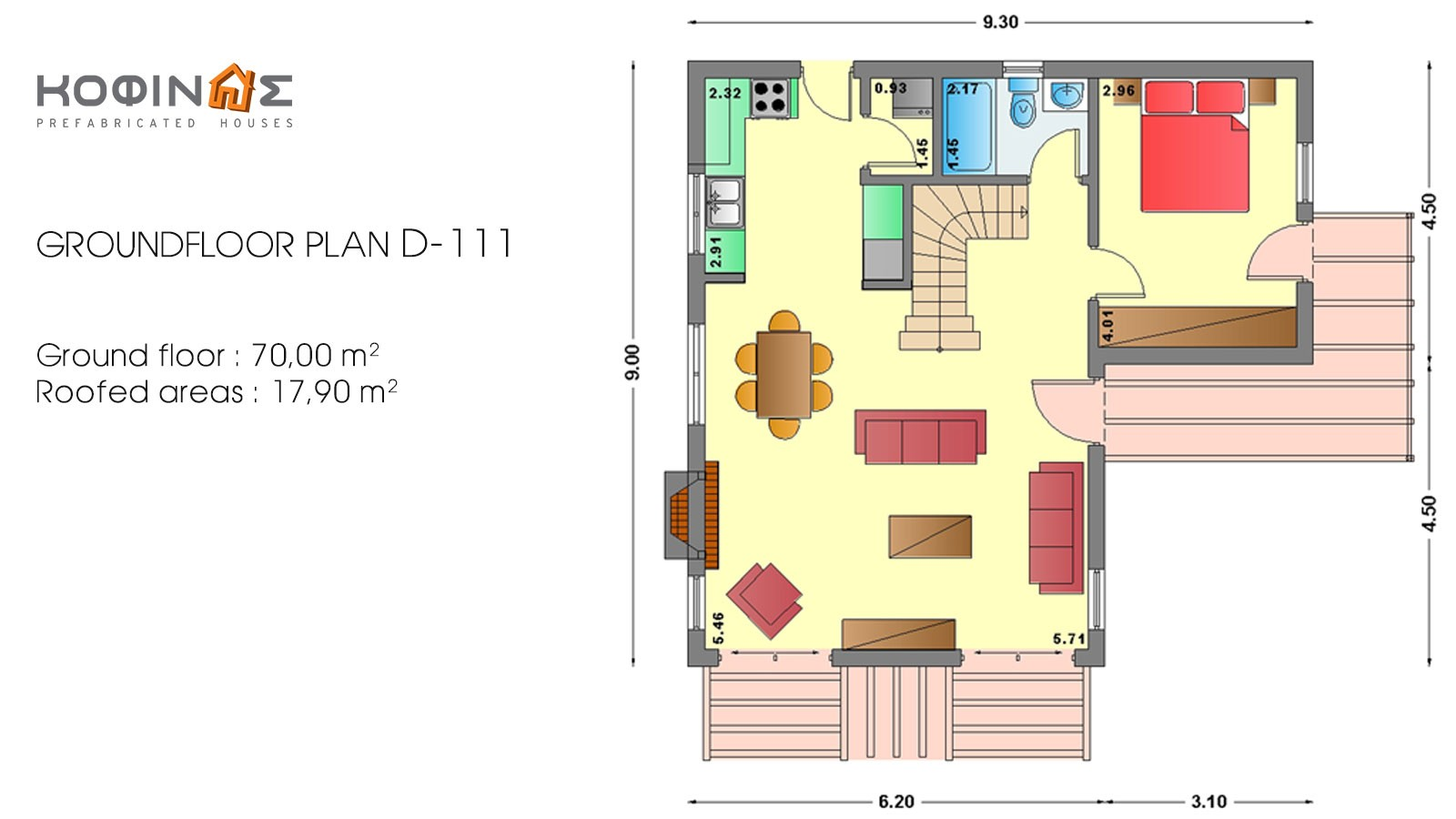 2-story house D-111, total surface of 111,80 m²