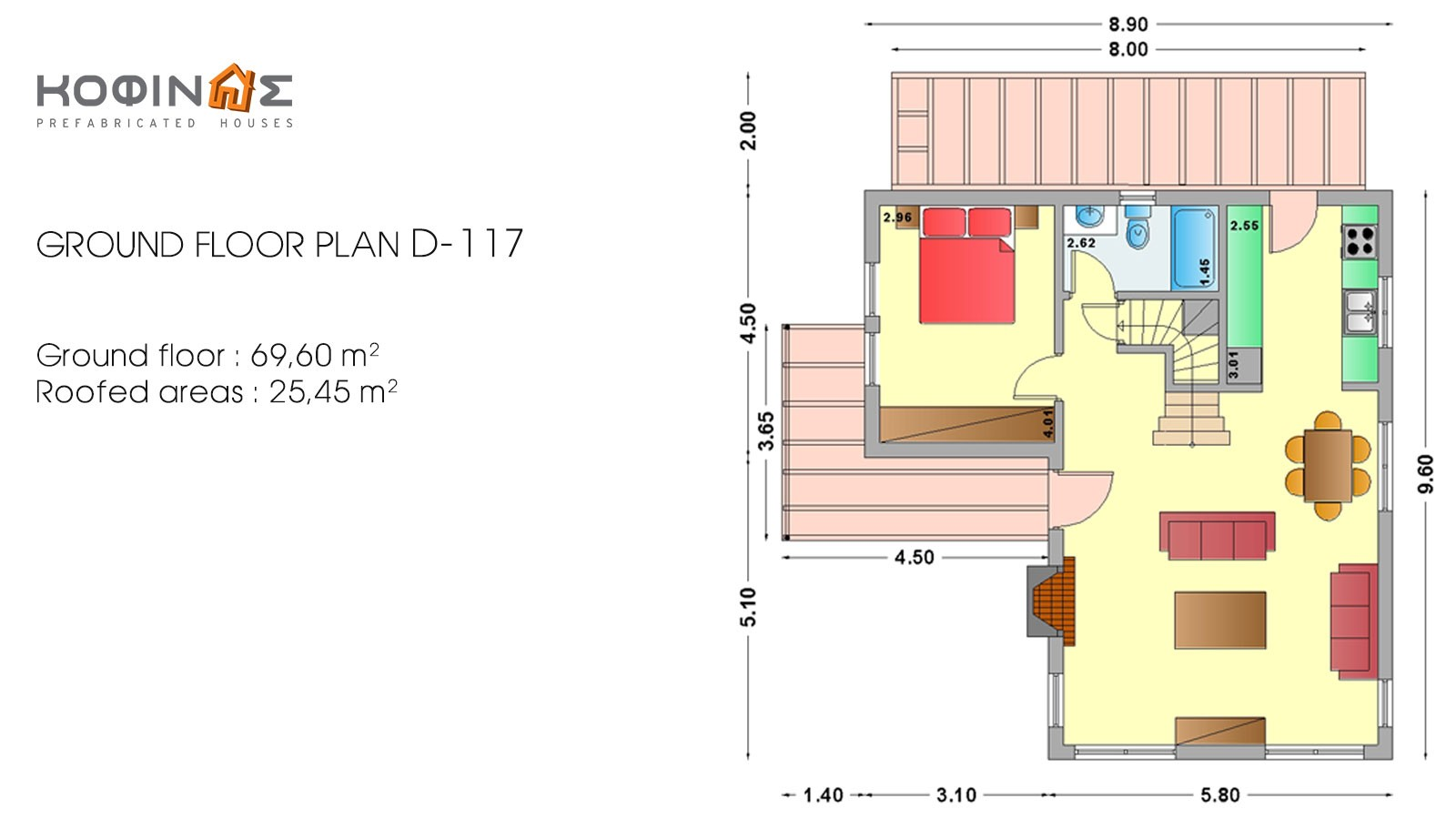 2-story house D-117, total surface of 117,20 m²