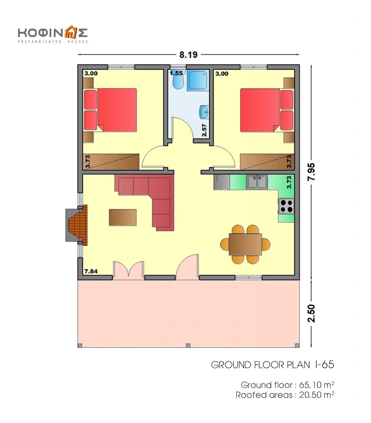 1-story house I-65, habitable space of 65,10 m²
