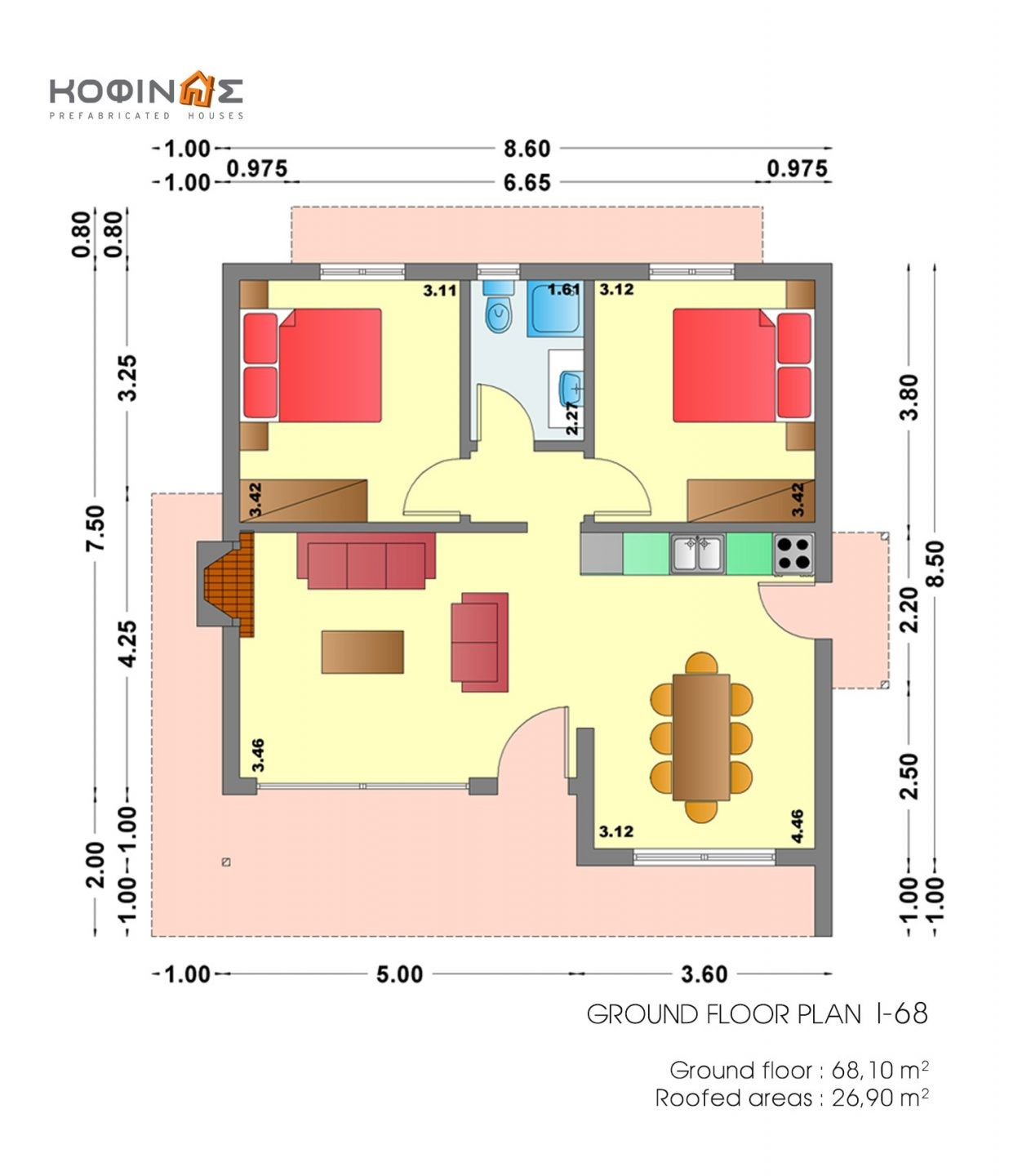 1-story house I-68, habitable space of 68,10 m²
