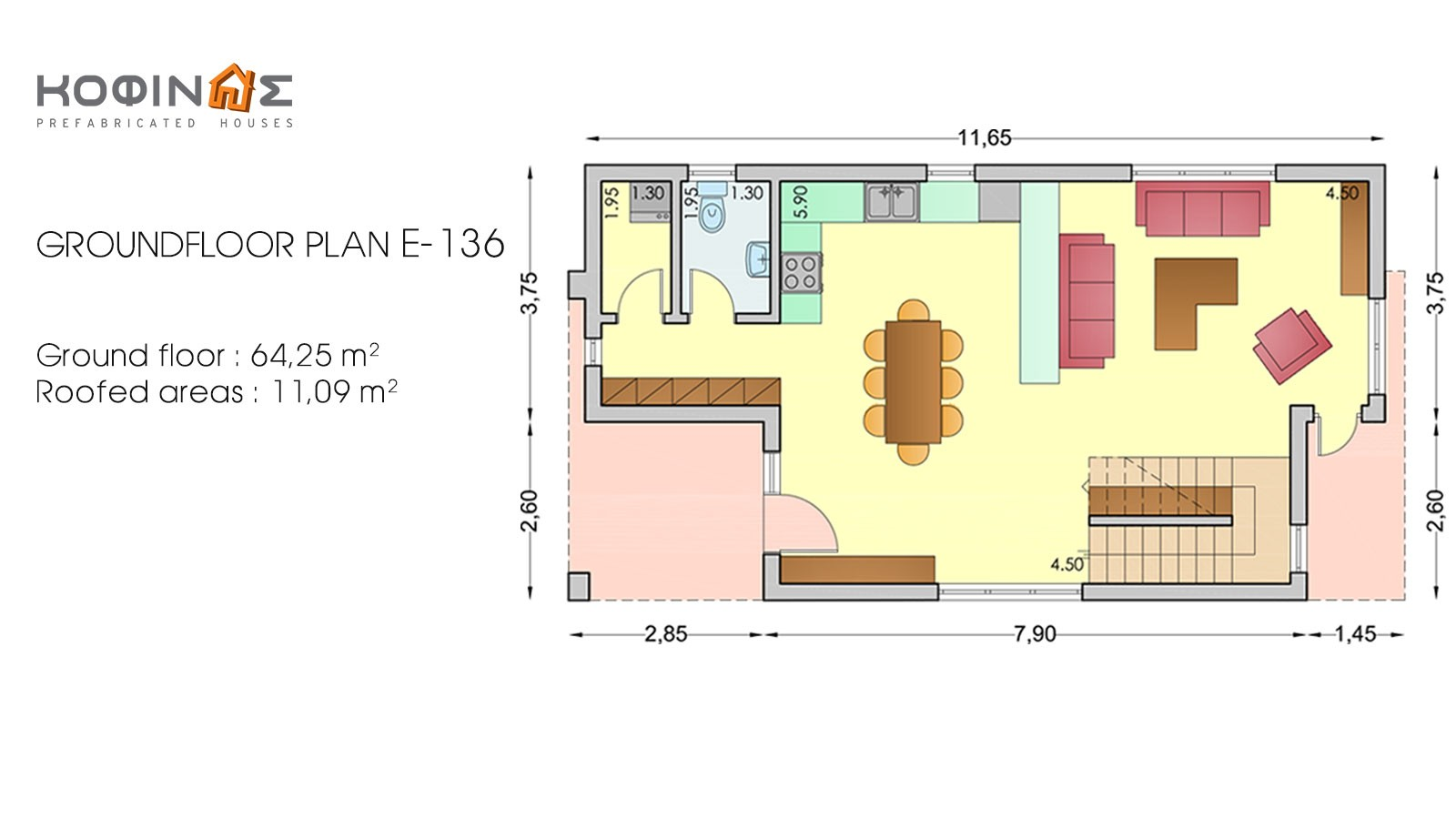 2-story house D-136, total surface of 136,39 m²