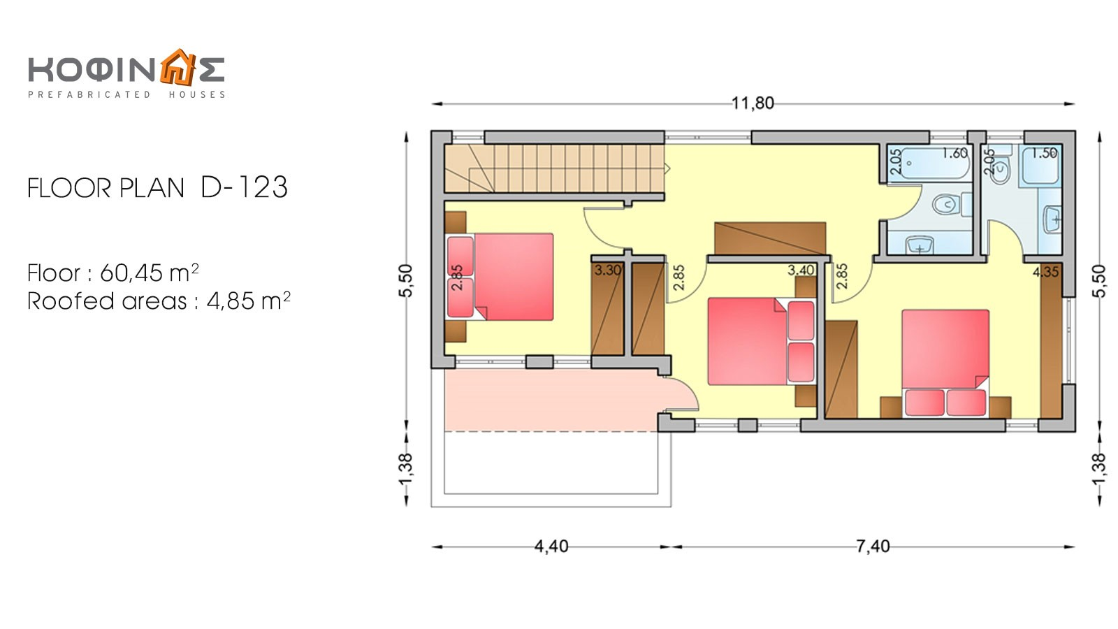 2-story house D-123, habitable space of 123,30 m²