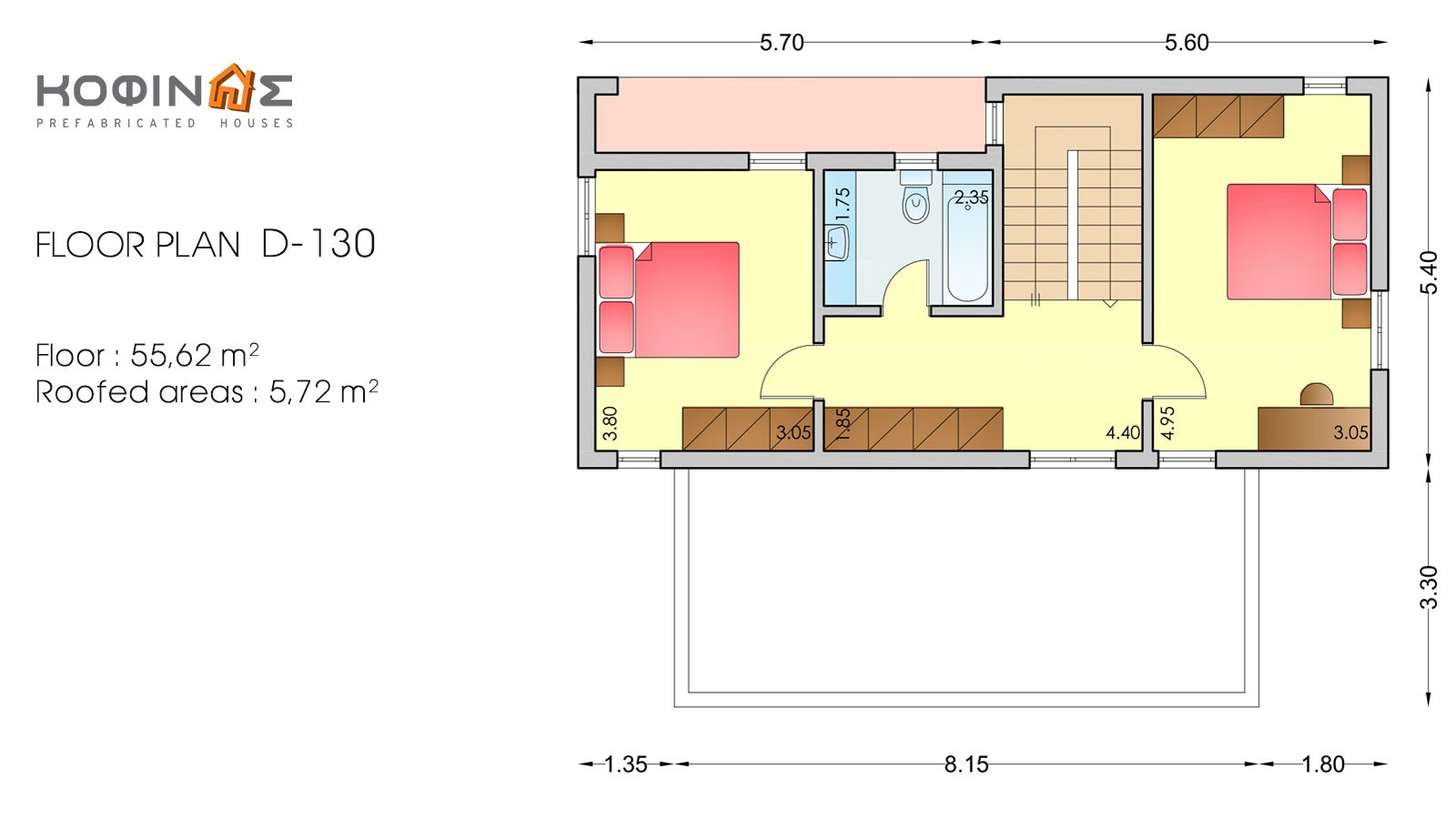 2-story house D-130, total surface of 130,2 m²