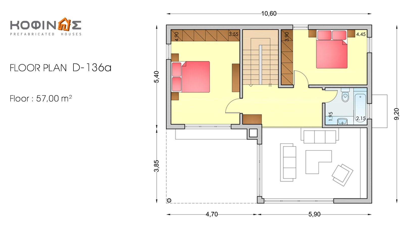 2-story house D-136a, total surface of 136,72 m²